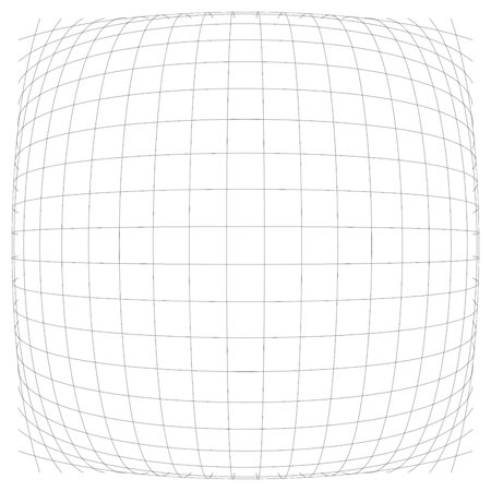 3D convex spherical, globe, orb protrude distortion, deformation on lines grid, mesh. Bulge, bloat, inflate sphere. Bulb, bump or swell effect wire-frame. Dilate intersect lines. Distend warp matrix