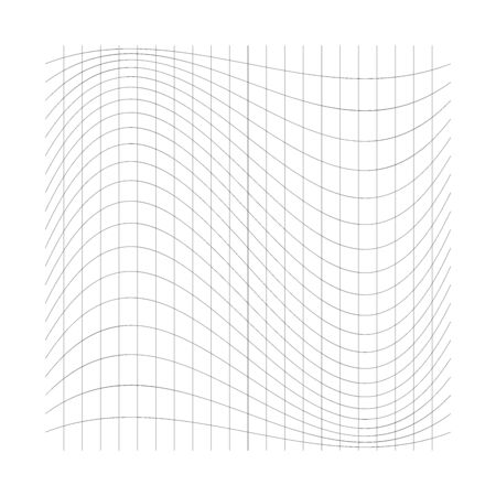 Wavy, waving thin lines. Camber, crook, squeeze stretch distortion on grid, mesh. Billow deformation on array of intersecting lines. Undulating stripes. Abstract geometric pattern / graphic element. 向量圖像
