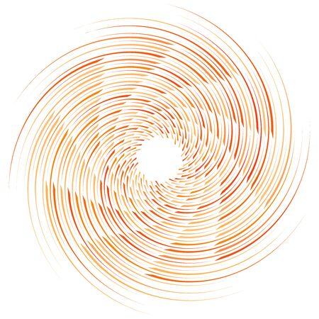 Spirale abstraite, torsion. Tourbillon radial, tourbillon sinueux, élément de lignes ondulées. Motif en boucle circulaire et concentrique. Tournez, tourbillonnez la conception. Tourbillon, illustration de tourbillon