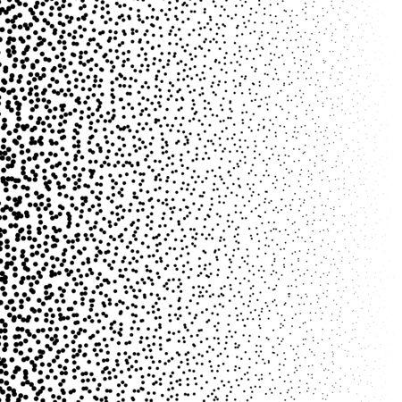 Zufällige Punkte, zufälliges Kreismuster, Hintergrund. Rauschen Halbton. Streuung, punktiertes, punktförmiges Pointillisten-Design. Laute Partikel Speckle Textur. Abstrakte geometrische Kreisillustration Vektorgrafik