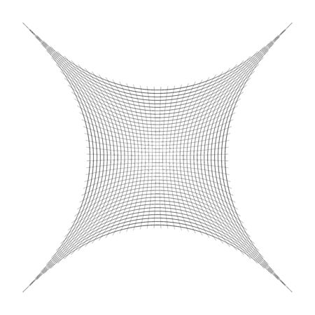 Indented, curved mesh  grid  array of thin lines. Oblate, squeezed, distressed geometric element. Compressed shape