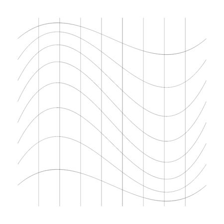 Wavy, waving thin lines. Camber, crook, squeeze stretch distortion on grid, mesh. Billow deformation on array of intersecting lines. Undulating stripes. Abstract geometric pattern / graphic element.