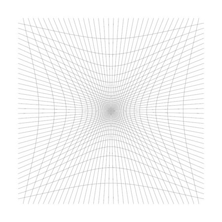 Inward, recess curved lines grid, mesh. Incline compress hollow, indent, dent distortion. Compression, depression negative space pattern. warp, deform lattice, grating or trellis abstract element 矢量图像