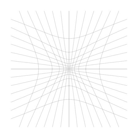 Inward, recess curved lines grid, mesh. Incline compress hollow, indent, dent distortion. Compression, depression negative space pattern. warp, deform lattice, grating or trellis abstract element Stock Illustratie