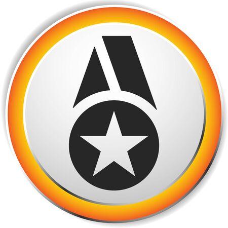 Icon with medal, badge symbol. Award, reward concept icon