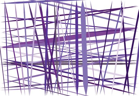 Colorful lilac, purple Abstract geometric art with random, chaotic lines. Straight crossing, intersecting lines texture, stripes pattern Ilustração