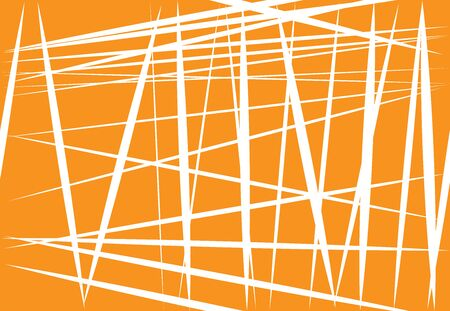Abstract yellow, orange geometric art with random, chaotic lines. Straight crossing, intersecting lines texture, stripes pattern Ilustración de vector