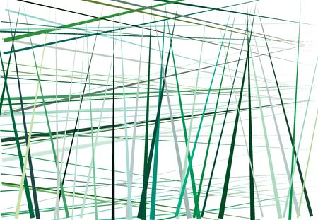 Colorful green Abstract geometric art with random, chaotic lines. Straight crossing, intersecting lines texture, stripes pattern Ilustración de vector