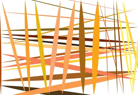 Colorful yellow, orange Abstract geometric art with random, chaotic lines. Straight crossing, intersecting lines texture, stripes pattern 向量圖像