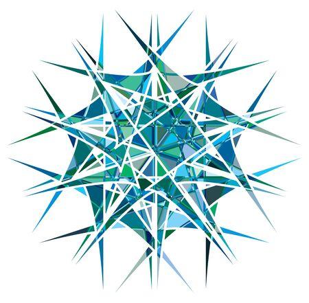 Shattered crystal, gem-like mandala imagery. Crystallized, fragmented, ruptured illustration. Abstract tessellating shape. Colorful geometric decoration, ornament Vektorgrafik