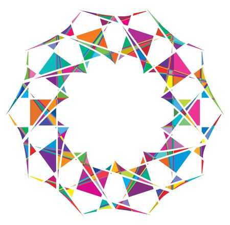 Shattered crystal, gem-like mandala imagery. Crystallized, fragmented, ruptured illustration. Abstract tessellating shape. Colorful geometric decoration, ornament