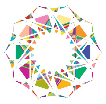 Shattered crystal, gem-like mandala imagery. Crystallized, fragmented, ruptured illustration. Abstract tessellating shape. Colorful geometric decoration, ornament Ilustração