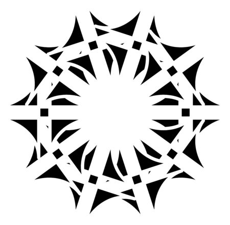 Circular and radial abstract mandalas, motifs, decoration design elements. Black and white generative geometric and abstract art shapes