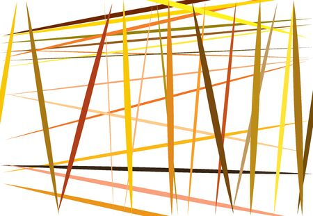 Colorful yellow, orange Abstract geometric art with random, chaotic lines. Straight crossing, intersecting lines texture, stripes pattern Ilustração
