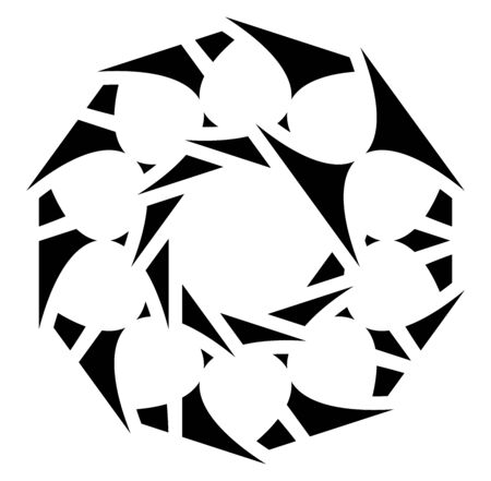 Circular and radial abstract mandalas, motifs, decoration design elements. Black and white generative geometric and abstract art shapes Vector Illustration