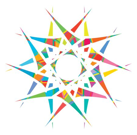 Shattered crystal, gem-like mandala imagery. Crystallized, fragmented, ruptured illustration. Abstract tessellating shape. Colorful geometric decoration, ornament