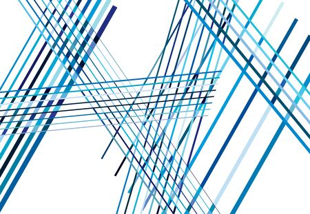Colorful Blue Abstract geometric art with random, chaotic lines. Straight crossing, intersecting lines texture, stripes pattern