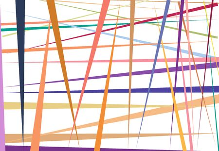Vivid / Vibrant Colorful Abstract geometric art with random, chaotic lines. Straight crossing, intersecting lines texture, stripes pattern Illustration