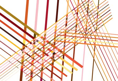 Colorful Red, Orange Abstract geometric art with random, chaotic lines. Straight crossing, intersecting lines texture, stripes pattern Çizim