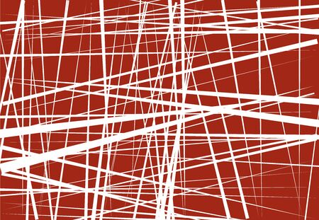 Abstract geometric art with random, chaotic lines. Straight crossing, intersecting lines texture, stripes pattern Ilustração