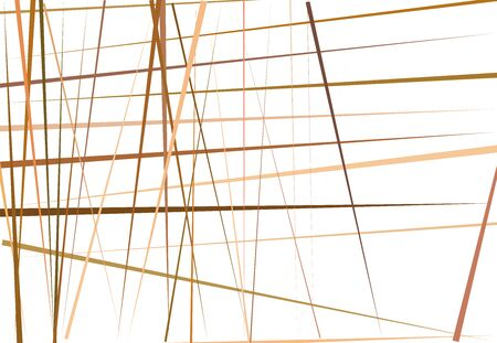 Brown Colorful Abstract geometric art with random, chaotic lines. Straight crossing, intersecting lines texture, stripes pattern