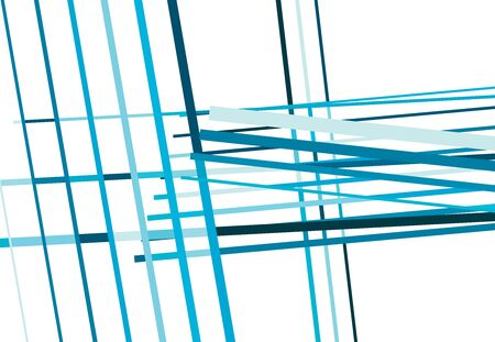 Blue Colorful Abstract geometric art with random, chaotic lines. Straight crossing, intersecting lines texture, stripes pattern