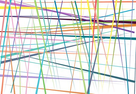 Vivid  Vibrant Colorful Abstract geometric art with random, chaotic lines. Straight crossing, intersecting lines texture, stripes pattern Çizim