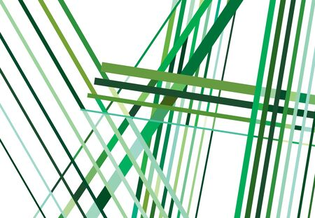 Colorful Green Abstract geometric art with random, chaotic lines. Straight crossing, intersecting lines texture, stripes pattern Çizim