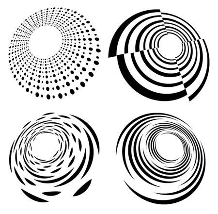 Set of black and white vortex, volute shapes. Twisted helix elements Reklamní fotografie - 142969544
