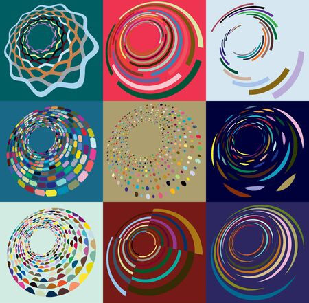 Set of mottled, multi color and colorful spiral, swirl, twirl shapes. Vortex, whorl shape with rotation, spin, coiling distortion effect over colored background, backdrop Reklamní fotografie - 142969583