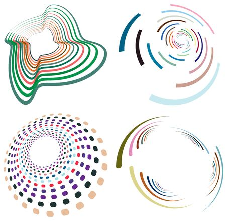 Set of mottled, multi color and colorful spiral, swirl, twirl shapes. Vortex, whorl shape with rotation, spin, coiling distortion effect