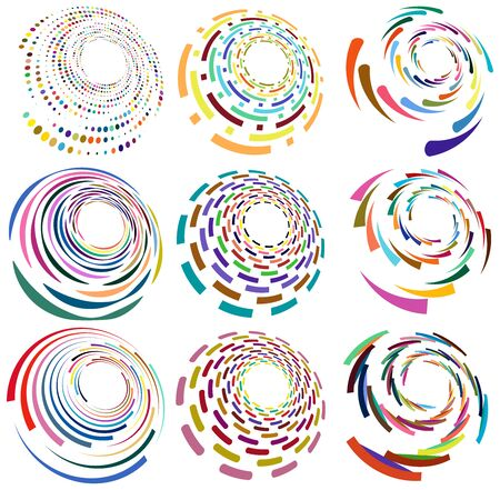 Set of mottled, multi color and colorful spiral, swirl, twirl shapes. Vortex, whorl shape with rotation, spin, coiling distortion effect Reklamní fotografie - 143040762