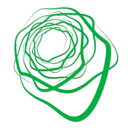 Single-colored,monochrome twirl, swirl. Shape with rotation, spin, spiral distortion. Helix, volute and twine design element