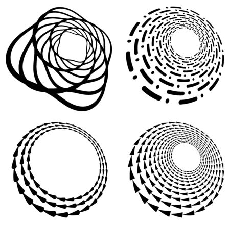 Set of black and white vortex, volute shapes. Twisted helix elements Ilustrace