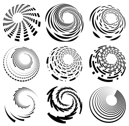 Set of black and white vortex, volute shapes. Twisted helix elements Stock Illustratie