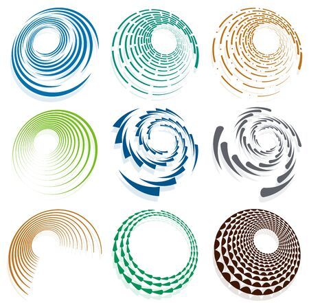Set of single-colored,monochrome twirl, swirl. Shape with rotation, spin, spiral distortion. Helix, volute and twine design element