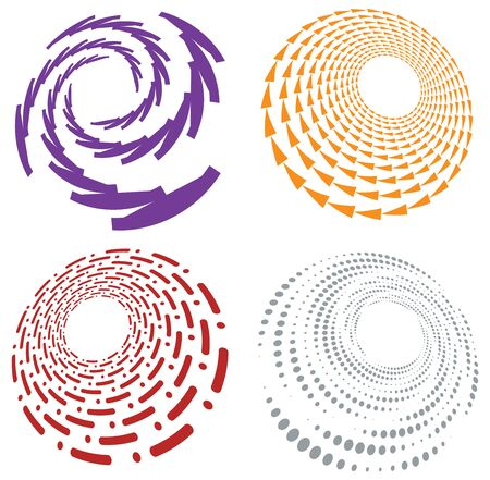 Set of single-colored,monochrome twirl, swirl. Shape with rotation, spin, spiral distortion. Helix, volute and twine design element Standard-Bild - 142980952