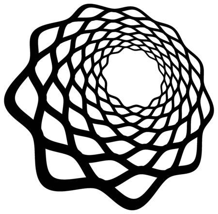 Monochrome volute, vortex shapes. Twisted helix elements. Rotation, spin and twist concept design Reklamní fotografie - 142982575