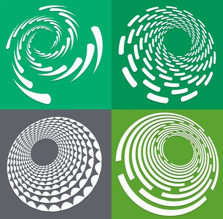 set of white helical, spiraling, curl and curly shapes. spiral, twirl, swirl illustration. twine design elements over single-color, monochrome background, backdrop. helix, volute set