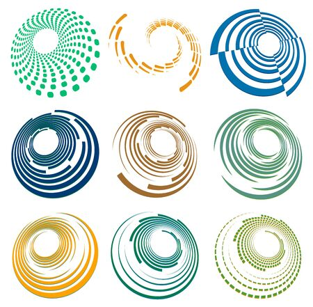 Set of single-colored,monochrome twirl, swirl. Shape with rotation, spin, spiral distortion. Helix, volute and twine design element Reklamní fotografie - 144927537