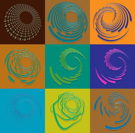 set of duotone curly, coil, gyration volute shapes. twine vortexes rotating in concentric, radial, radiating and circular, circling fashion Standard-Bild - 143026434