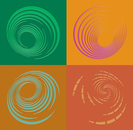 set of duotone curly, coil, gyration volute shapes. twine vortexes rotating in concentric, radial, radiating and circular, circling fashion