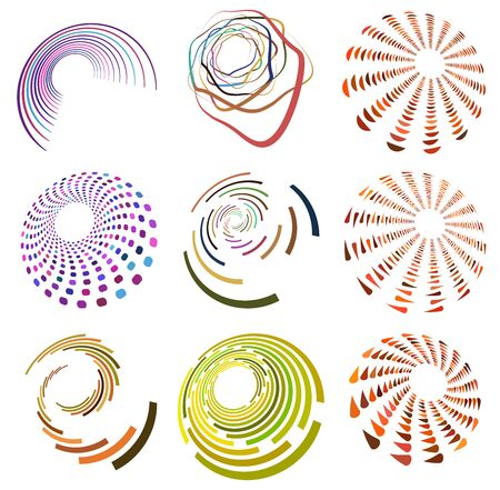 set of colorful, multicolor and monochrome cyclic, cycle concentric rings. revolved spirals, vortexes, swirl, spirals and twirls. abstract circular, radial loop shapes, elements Reklamní fotografie - 143026409