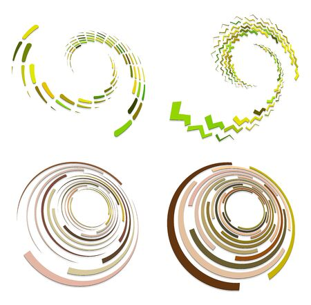set of colorful, multicolor and monochrome cyclic, cycle concentric rings. revolved spirals, vortexes, swirl, spirals and twirls. abstract circular, radial loop shapes, elements Reklamní fotografie - 143026699