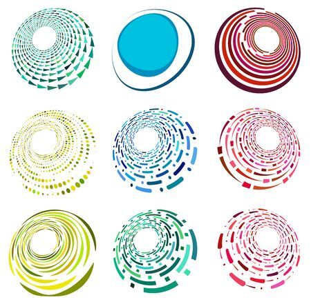 set of colorful, multicolor and monochrome cyclic, cycle concentric rings. revolved spirals, vortexes, swirl, spirals and twirls. abstract circular, radial loop shapes, elements