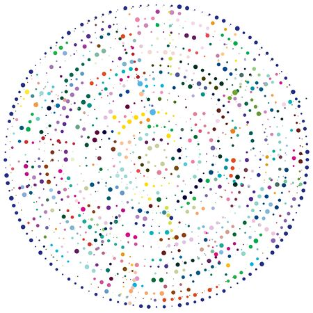 Random dots, circles abstract. Speckles, dotted radial, radiating, circular geometric illustration. Polka-dots, pointillist, pointillism design element Vector Illustratie