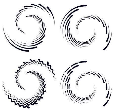 Set of black and white vortex, volute shapes. Twisted helix elements Vettoriali