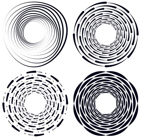 Set of black and white vortex, volute shapes. Twisted helix elements