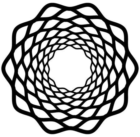 Monochrome volute, vortex shapes. Twisted helix elements. Rotation, spin and twist concept design Ilustração Vetorial