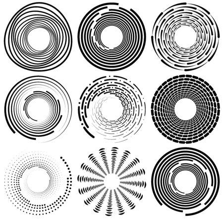 Set of black and white vortex, volute shapes. Twisted helix elements Illustration
